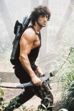 Rambo: First Blood Part II - Publicity still of Sylvester Stallone Action Movie Stars, Action Movies, Rambo 2, Sylvester Stallone Rambo, Silvester Stallone, Keanu Reeves John Wick, First Blood, English Movies, Star Wars