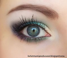 Mineral eyeshadow Neauty Minerals:  In the Mist, Turquoise Stone, Pansy Flower, Wild Jungle. Mascara  Etre Belle.