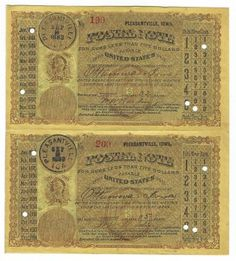 Pleasantville, IA 1883 Uncut Pair of Postal Notes #199 & #200 Issued for 2 cents; payable at Ottumwa, IA