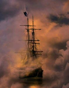 Gorgeous pic of a pirate ship sailing into and through clouds and fire smoke. Pirate Art, Pirate Life, Pirate Ships, Pirate Crafts, Benfica Wallpaper, Old Sailing Ships, Ghost Ship, Ship Paintings, Black Sails