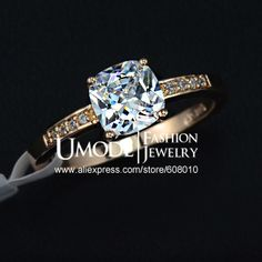 Rose Gold Plated 7mm Square CZ Stone Engagement Ring (Umode JR0118A) $3,56