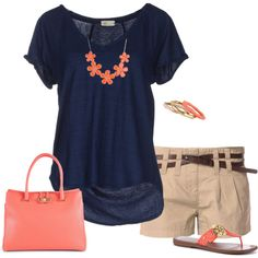 Love the style of this shirt & the navy/coral combo. Pair it with Capri pants, Bermuda shorts or a skirt