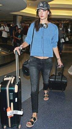 Jet-Set in Style: 59 Celebrity-Inspired Outfits to Wear on a Plane - Alessandra Ambrosio from #InStyle