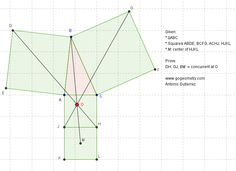 Static Diagram Geometry Problem 902: Triangle, Four Squares, Center, Concurrent Lines. Levels: School, College, Mathematics Education