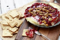 Good Holiday Appetizer - Baked Brie with Cranberry Sauce and Walnuts