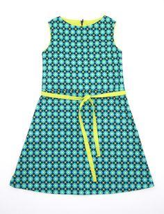 Alijn jurk met striklint Blauw/geel van loiseauvertnaaisels op Etsy, €35.00