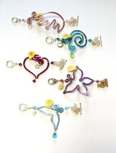 Wire Anklet with Swarovski Crystals. From the top: Baby Pink Angel Wing, Turquoise Teal Wave, Fuchsia Heart, Purple Butterfly, Turquoise Blue Whale Tail