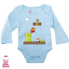 baby super mario onesie. $17.00, via Etsy. I want this in adult size! Love!