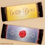 FREE Printable Beauty and the Beast Candy Bar Wrappers beauty and the beast party Beauty And The Beast Diy, Disney Candy, Poppy And Branch, Flower Cart, Disney Birthday, Candy Bar Wrappers, Custom Banners, Free Printables, Favours