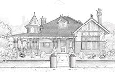 Queen Anne 1895 from English and American styles that revived elements from the archite… Australian Architecture, Australian Homes, Architecture Art, Edwardian House, Victorian Homes, Victorian Terrace, Art Clipart, Monochrome, What House