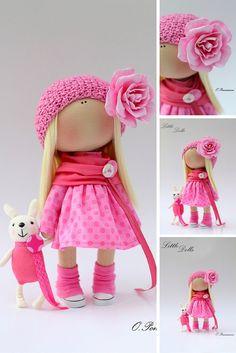 Fabric doll handmade, pink doll, gift doll, present doll, baby doll, nursery decor doll