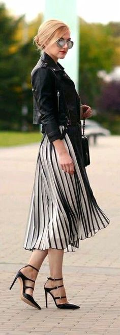 Black and White, Leather Jacket & Heels. Classy and totally rocker chic! #Fashion #Lookbook #RockerFashion
