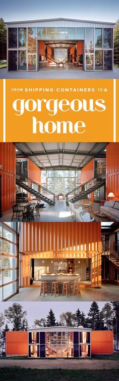 This shipping container home has a modern interior. The window filled home has lots of light and a spacious feel thanks to high ceilings.