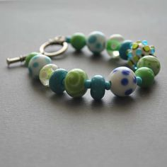 Green Blue White Lampwork Bracelet  Glass Bead Bracelet by bstrung, $45.00