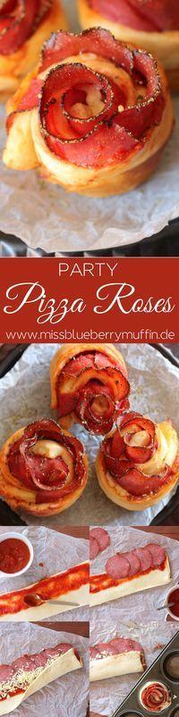 Pizzarosen // Finger Food // herzhafter Partysnack // Pizza Roses // besondere Pizzabrötchen <3
