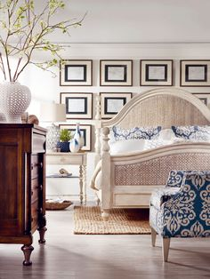 Beautiful bedroom of neutrals and a splash of blue