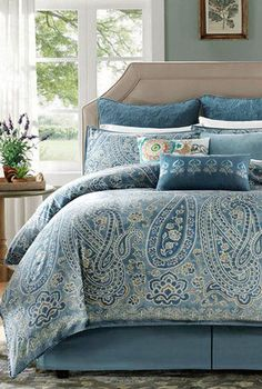Blue Paisley Bedding