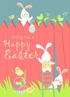 Buy Easter Bunnies and Easter Eggs by masastarus on GraphicRiver. Easter bunnies and easter eggs. Hoppy Easter, Easter Bunny, Happy Easter Wallpaper, Happy Easter Wishes, Basket Drawing, Illustration Inspiration, Easter Traditions, Coloring Easter Eggs, Easter Printables