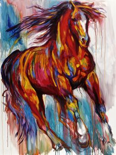 """""""Red Warrior"""" by Barbara Meikle . This handsome horse gallops through the fields and into your dreams. Barbara's bold colors and impressionistic drips capture the hard-working spirit of this magnificent animal. Oil Pastel Paintings, Cool Paintings, Animal Paintings, Watercolor Horse, Horse Artwork, Equine Art, Art Gallery, Horses, Colorful Artwork"""