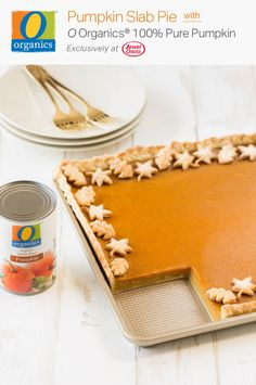 Spread even more holiday cheer with this Pumpkin Slab Pie recipe, made in just a matter of minutes. Get O Organics® 100% Pure Pumpkin exclusively at Jewel-Osco and craft this delicious baked dessert completely from scratch. The flakey and flavorful crust only calls for four ingredients—unsalted butter, cream cheese, flour and salt, making it as easy to make as it is to enjoy!