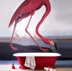Flamingo Audubon wall mural