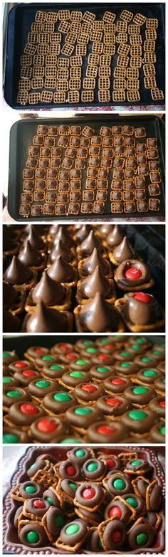 Easy Chocolate Pretzel Bites Recipe. Would be cute for Christmas, Easter, Halloween depending on color of candy. #snack #chocolate #pretzels