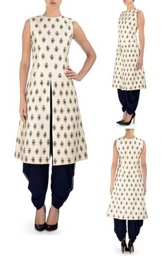 SVA BY SONAM & PARAS MODI Pristine White and Navy Dhoti Set with Embroidered Motifs