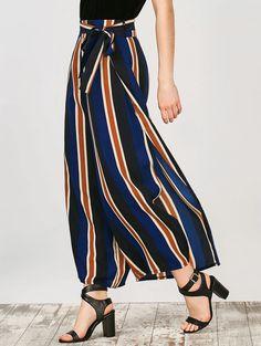 942e0a982e2cc Women s High Waist Striped Wide Leg Slit Pants Palazzo Pants Trouser S-XL