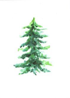 #56 - Pine tree -                                                          watercolor print