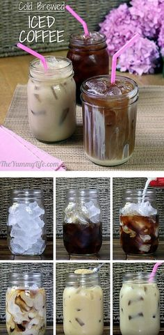 Different Ice coffee recipes Coffee drinks, coffee lover, coffee recipes Method of serving in the cafe, only ice in jars, small jug of coffee for customer to pour