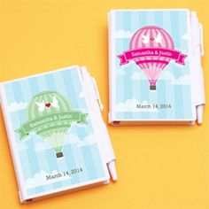 Hot Air Balloon Personalized Notebook Favors