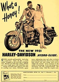 'The New 1951 Harley-Davidson Hydra-Glide' - Fantastic A4 Glossy Print Taken From A Vintage Motorcyle Ad by Design Artist http://www.amazon.co.uk/dp/B019H5NFCI/ref=cm_sw_r_pi_dp_yrSCwb0W27GKH
