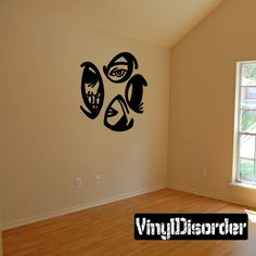Face Skull Eyes Woman Tears through walls Ripped Wall Decal - Vinyl Decal - Car Decal - CD6153