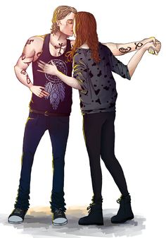 "Jace and Clary (Art on a photo from filming of ""City of Bones"")"