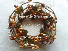 """2"""" Pip Berry Candle Ring BROWN MIX Primitive Rustic ~ Rusty Brown, Tan, Cream  #Unbranded #countryprimitive"""