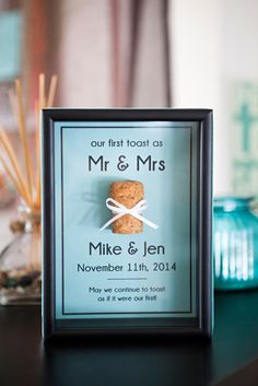 DIY Wedding Keepsake // Save the cork from your first bottle of champagne or wine -- as Mr & Mrs! Free editable download!
