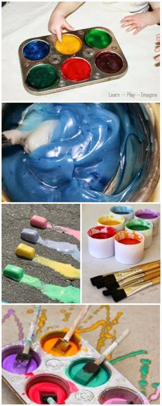 12 baby and toddler safe homemade paint recipes made from common household ingredients - all are easy to make and edible!