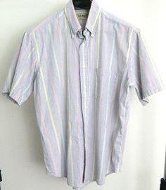 L.L. Bean Shirt Men's L Button Front Multicolor Striped Seersucker Made In USA #LLBean #ButtonFront