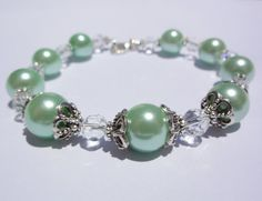 Pearl Bracelet Mint Pearl bracelet  green by StunningGemsJewelry