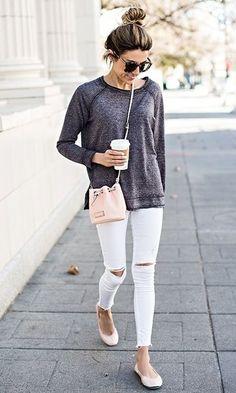 Look Comfort: Cinza + Branco