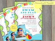 Pool Party Invitation Boy Birthday Party Invite Summer Swimming Party Beach Party DIY Digital Printable - 4x6 or 5x7