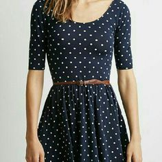 Navy blue polka-dot dress This is a navy polka-dot dress with quarter length sleeves. Slightly low back. (belt not included) Condition: Perfect, Never worn (Non-strechy material, best for smaller bust) Dresses