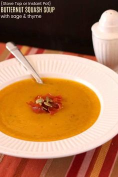 Stove Top or Instant Pot Butternut Squash Soup with Sage and Thyme - an easy and healthy soup recipe you can make in a pot or pressure cooker. Gluten-free, with options to make it vegan, paleo, and Whole 30 friendly! #butternutsquashsoup #glutenfree #instantpot #whole30 #paleo #vegan