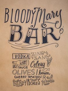 Bloody Mary Bar Ingredients Sign