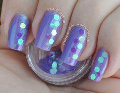 Violet nail art design using large hexagon glitter 31dc2013