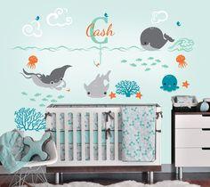 Under the Sea Decal with Monogram Custom Name Vinyl Decal, Ocean Friends Nursery Wall Decal for a Nautical Nursery, Kids or Childrens Room. $59.00, via Etsy.