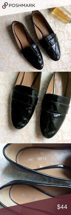 🎄SALE🎄Nine West patent loafers Very gently used black patent ZINDELO loafers by Nine West in great condition. Size 8.5. Very shiny and great for the holidays! Offers welcome! Nine West Shoes Flats & Loafers