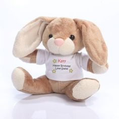Message Bunny - A huggable bunny with a t-shirt featuring your message! £10.99 #Bunny #BabyGifts #PersonalisedBunny #NewBaby