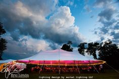 Streaky sunset clouds inside the tent and stormclouds overhead Wedding Tent Lighting, Tent Wedding, Great Barrington, Lighting Design, Fair Grounds, Clouds, Patio, Sunset, Backyards