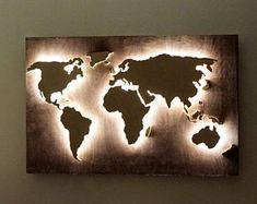 LED Weltkarte Abstrakte Kunst 3d Weltkarte Leuchtende 3d Moderne Kunst  Führte Wandkunst Büro Dekoration Wandbehänge